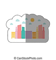 colorful builds with small cloud and sun, vector...