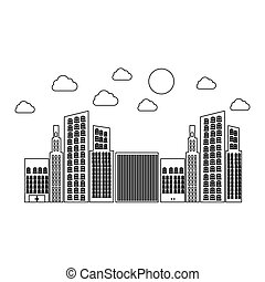 figure builds with small cloud and sun, vector illustraction...