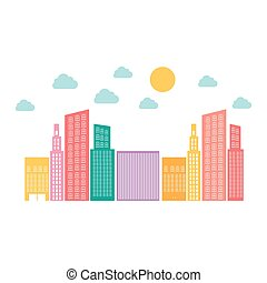 color builds with small cloud and sun, vector illustraction...