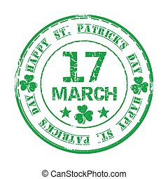 March 17. Green grunge rubber stamp with clover and the text Happy St. Patricks Day