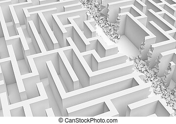 3d rendering of a white maze in front bottom view cut in...
