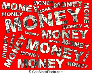 Words Money from dollars - isolated on red background