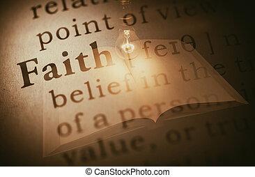word faith and light bulb