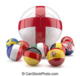 Football balls in flags color.3d illustration.