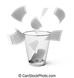 Wastebasket - Isolated wastebasket with fly papers.3d...
