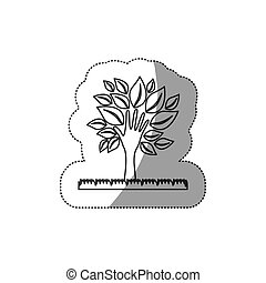 silhouette tree with leaves and grass icon