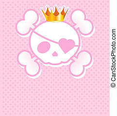 Pink Skull with crown - Very cute pink Skull place card with...