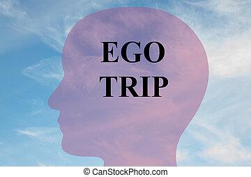Ego Trip concept - Render illustration of 'EGO TRIP' title...
