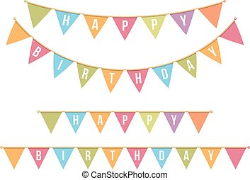 Happy Bithday Bunting - Bunting for happy birthday on white...