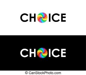 Colorful choice symbol over white and black