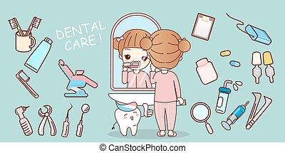 girl brush tooth with equipment - cartoon cute girl brush...