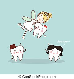 cartoon tooth with tooth fairy - cute cartoon tooth smile...