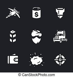 Vector Set of Fight against crime oil Icons. - Fighter, oil...