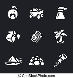 Vector Set of Coal Icons. - Man, truck, bucket, money, palm,...