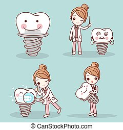woman dentist with tooth implant - cute cartoon woman...