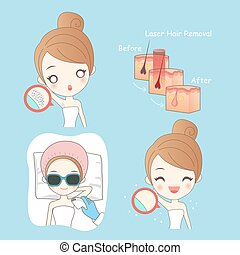 beauty woman with epilator - cartoon beauty woman with...