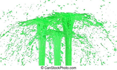 Beautiful fountain spray liquid like green paint. 3d on white background with alpha channel use alpha mask. Top of a fountain with vortex liquid. Version 1