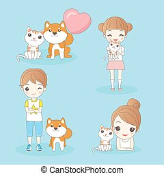 cartoon kids with pets