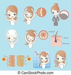 woman with make up - beauty cartoon woman with hair problem...