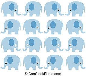 seamless elephant pattern in blue color