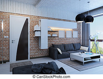 Modern living room with panorama