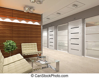 Office lobby with doors and offices