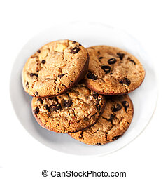 Chocolate chip cookie isolated on white background. Closeup...