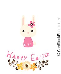 Cute vector Happy Easter greeting card with flowers, bunny and text