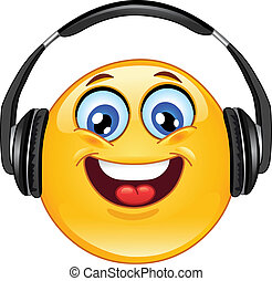 Headphone emoticon - Emoticon with headphones