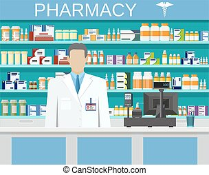 Modern interior pharmacy or drugstore with male pharmacist...
