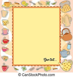 Vector frame Tea Party. Colorful background with sweets....