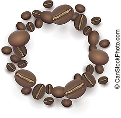 Roasted Coffee beans round frame. Isolated on white vector...
