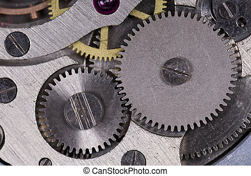 Pocket watch - Close-up mechanism of old watch Photo macro