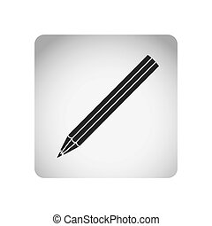 monochrome square frame with silhouette striped pencil...