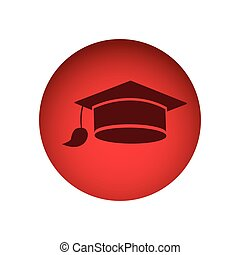 red circular frame with graduation cap