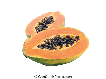 Papaya with clipping path