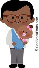 Father carrying his baby girl in a sling - Vector...