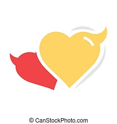 Two Heart of Devil love flat icon
