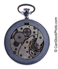 Pocket watch - Close-up mechanism of old watch isolated on...