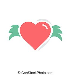 Hearts with wings red and green color