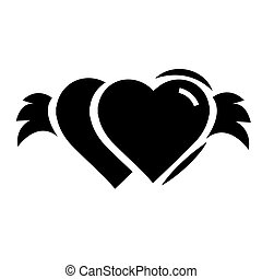Twins Hearts with wings black color