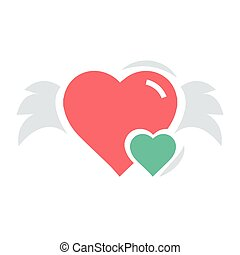 Hearts mini with wings red and green color