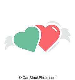 Two Hearts with wings red and green color