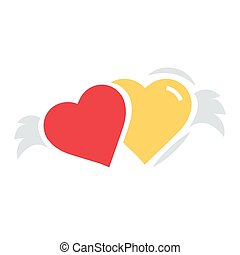 Two Hearts with wings flat icon
