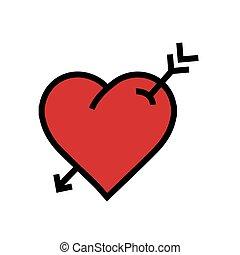 heart arrow icon red color
