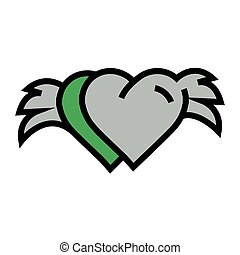 two Hearts with wings Green