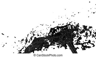 black paint or oil fountain 3d on white background with alpha channel use alpha mask. Top of a fountain with vortex liquid. 3D render high detail. Version 9