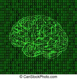 Background with numbers and brain sketch. Green numeric...