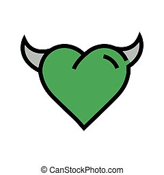 Devil Heart icon  green - Devil Heart icon green