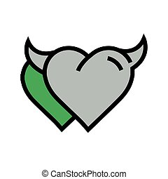 Devil Heart icon twins  green